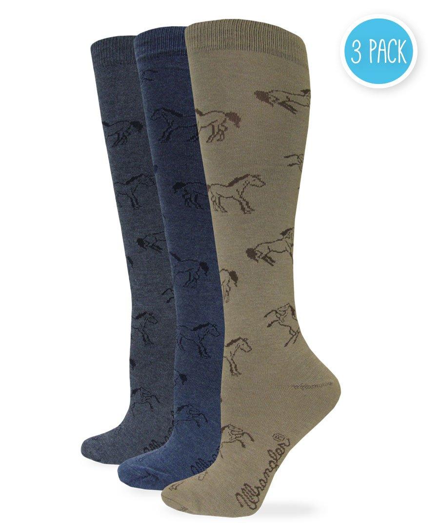 Wrangler Women's Ladies Horse Boot Socks 3 Pair Pack, Taupe/Denim/Charcoal, Medium