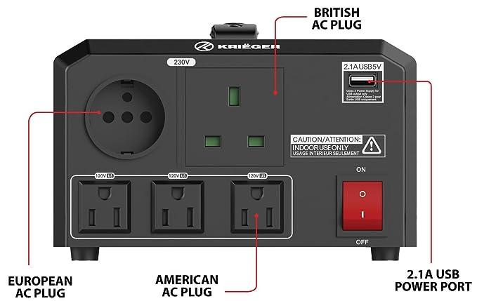 Amazon.com: KRIËGER 1700 Watt Voltage Transformer Step up/down 120V / 230V AC outlet American European Converter 50 60 Hz outlets 2.1A USB - IEC German ...
