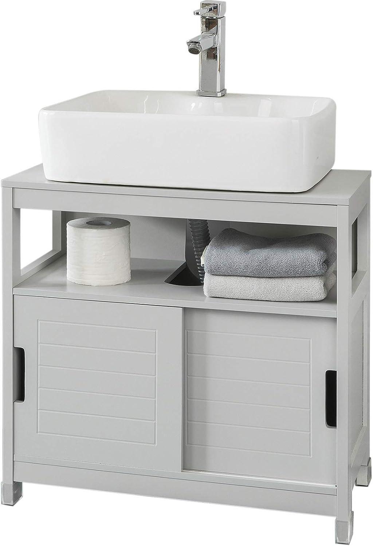 SoBuy FRG128-HG Mueble para Debajo del Lavabo Armario de Baño de Suelo 1 Estante y 2 Puertas Correderas 60 * 30 * 61 cm ES