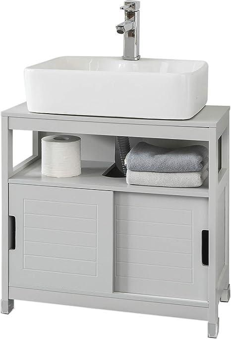 SoBuy FRG128-HG Mueble para Debajo del Lavabo Armario de Baño de Suelo 1 Estante y 2 Puertas Correderas 60 * 30 * 61 cm ES: Amazon.es: Hogar