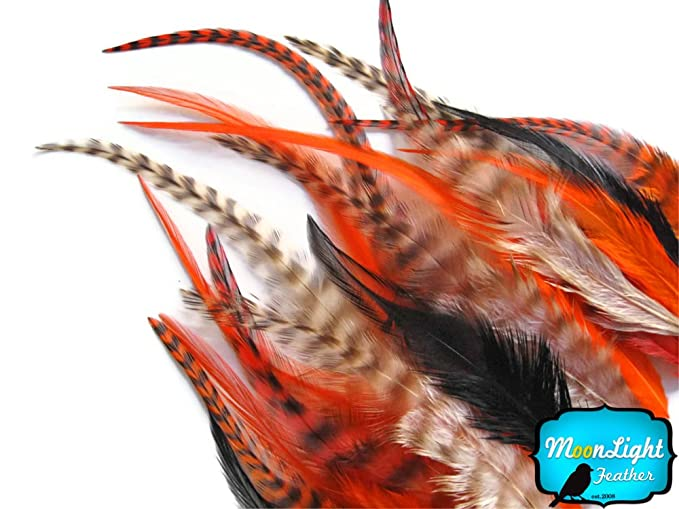 SHORT PUMPKIN MIX Grizzly Rooster Hair Extension Feathers 2 Dozen