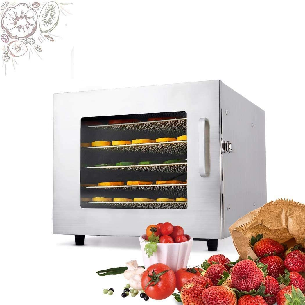600W Stainless Steel Electric Food Dehydrator Machine With 6 Layers,Dehydrator For Food And Jerky ,Fruit,Meat,Vegetable Dryer Machine,With Temperature Control And Timer,Size:16.5'' x 13.0'' x 10.6''