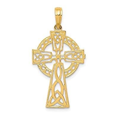 14K Yellow Gold Claddagh Cross Religious Charm Pendant with 1.2mm Box Chain Necklace