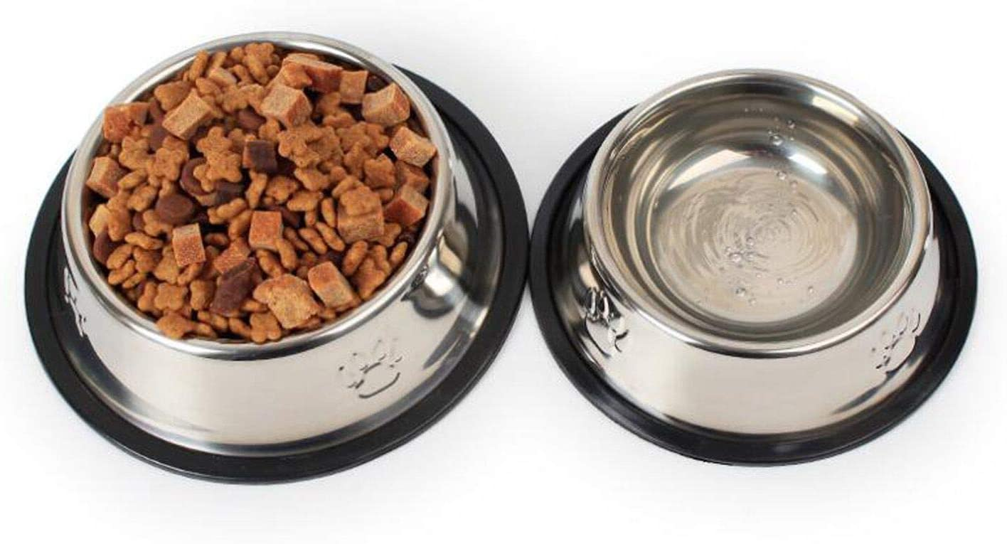 Stainless Steel Dog Bowl with Rubber Base for Small/Medium Dogs, Pets Feeder Bowl and Water Bowl Perfect Choice (Set of 2)