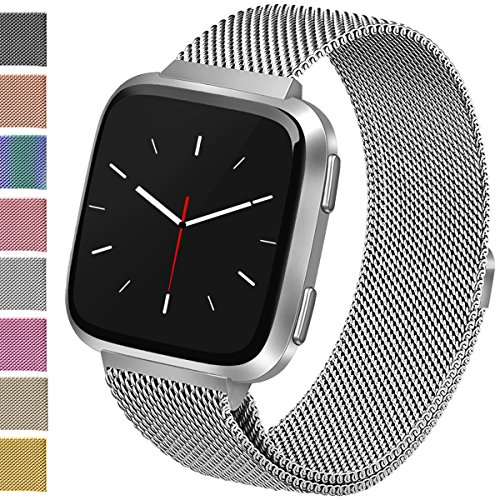 Vancle For Fitbit Versa Bands, Stainless Steel Milanese Mesh Loop Metal Replacement Wristbands with Magnet Lock for Fitbit Versa (Silver, Large)