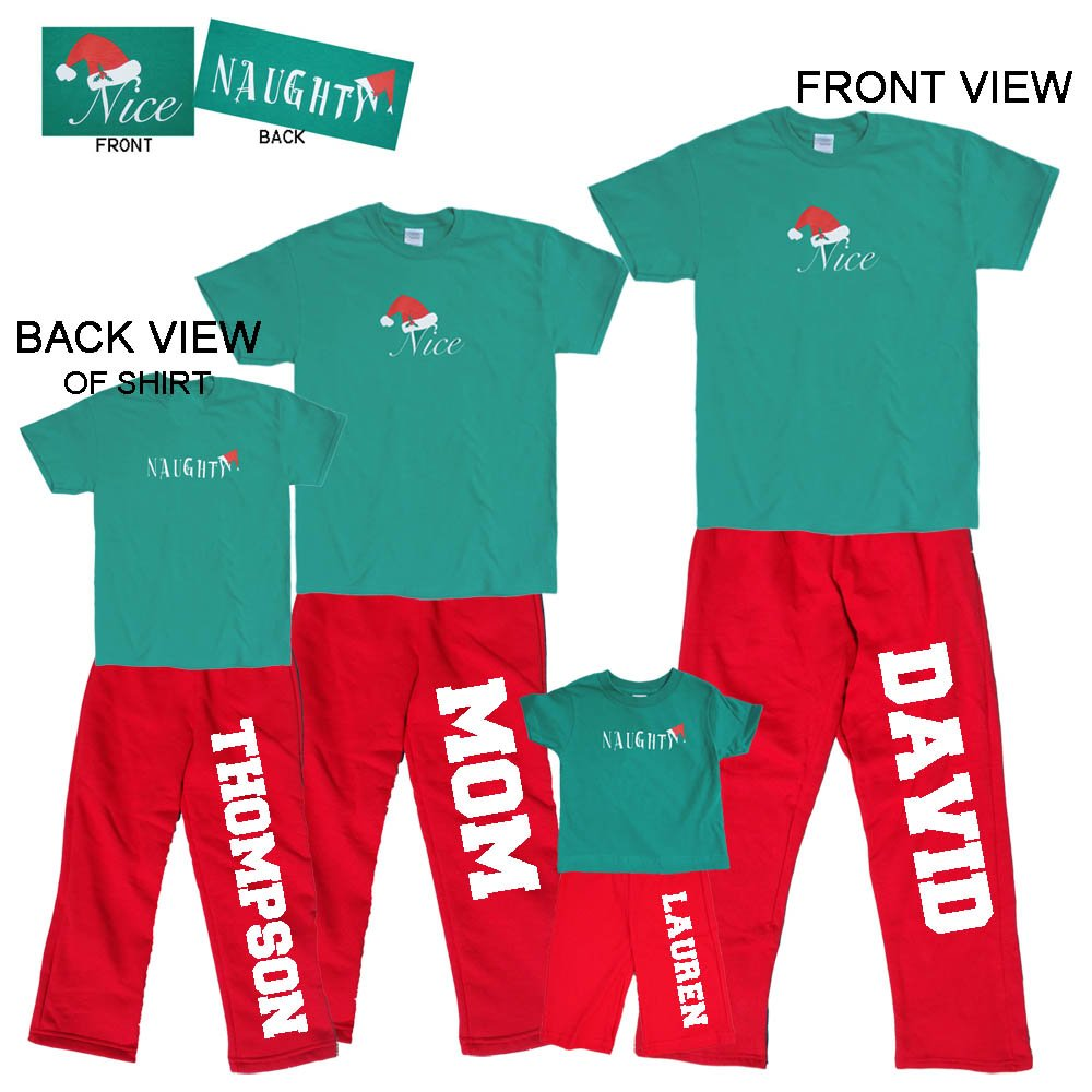 Personalized Name Nice-Naughty 2 Sided Christmas Holiday Family Adult Pajamas & Kids Playwear