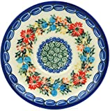 Polish Pottery Saucer 5-inch Corn Flower Butterfly UNIKAT