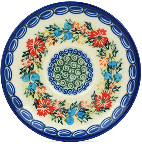 Polish Pottery Saucer 5-inch Corn Flower Butterfly UNIKAT by Polmedia Polish Pottery