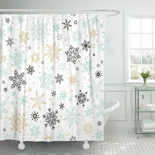 Emvency Shower Curtain Blue Gold Christmas and New