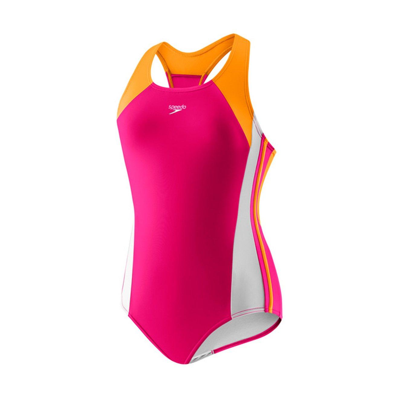 Speedo Girls Infinity Splice One Piece Swimsuit, Size 7, Electric Pink