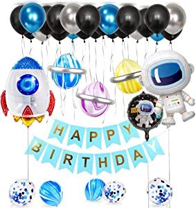 Astronaut Rocket Balloon Kit with Black Silver Blue Balloon Marble Balloon Outer Space Theme Planet Themed Party Supplies Birthday Galaxy Theme Party Decor