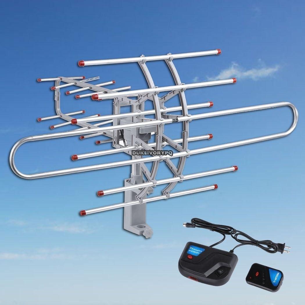 COOCHEER exterior Antena amplificada 360 Rotor Digital HD TV UHF/VHF/FM 150 Milla