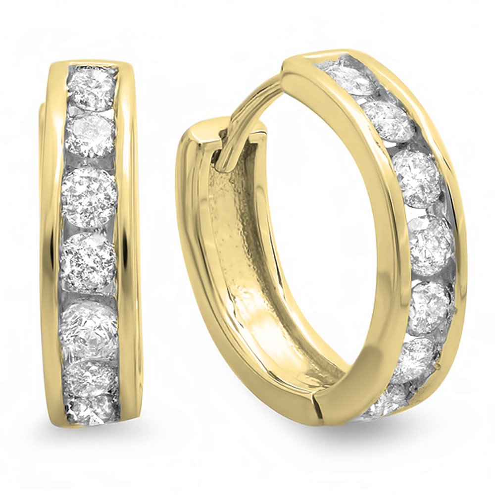 0.50 Carat (ctw) 14K Yellow Gold Round Cut Diamond Ladies Mens Unisex Huggie Hoop Earrings 1/2 CT by DazzlingRock Collection
