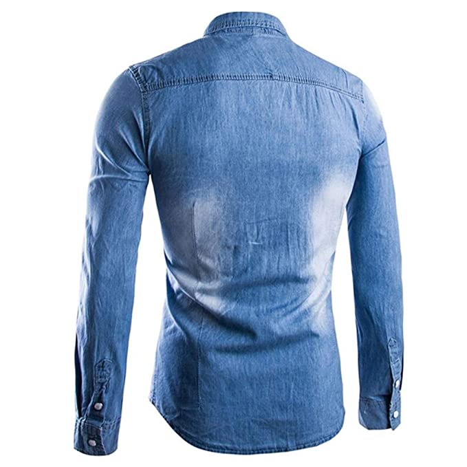 Camisas casuales con botones para hombres Camisa vaquera de manga larga con estampado étnico for hombres Camisa vaquera Tendencia Ropa de hombre Casual Diario Camisa formal elástica Slim Fit para homb: Amazon.es: