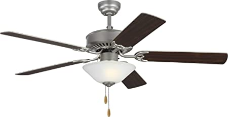 Amazon Com Monte Carlo 5hv52bpd Haven 52 Ceiling Fan With Led Light And Pull Chain 5 Mdf Blades Brushed Pewter Bowl Light Home Improvement