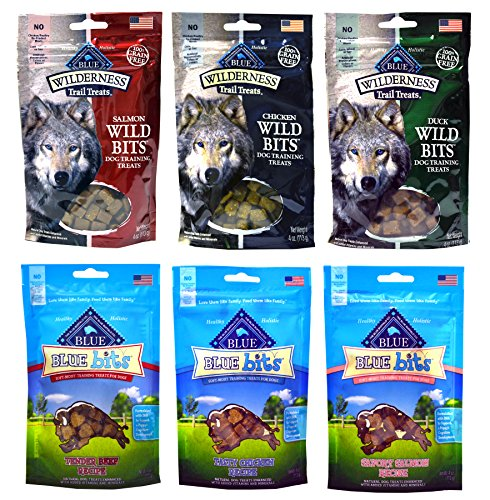 Blue Buffalo Grain-Free Dog Treats - 3 Wilderness Wild Bits Flavors & 3 Blue Bits Flavors - 4 Ounces Each (6 Total Pouches) (Blue Buffalo Puppy Salmon)
