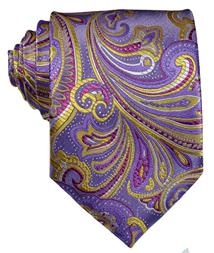 Geotae Zerun New Classic Men's Paisley Silk Tie Necktie (Purple/Gold)