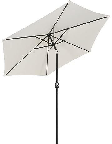 Sekey/® Ombrellone Mezzaluna Salvaspazio in Ombrello Parasole da Esterno da Giardino 270 cm Protezione Solare UV50 Crema