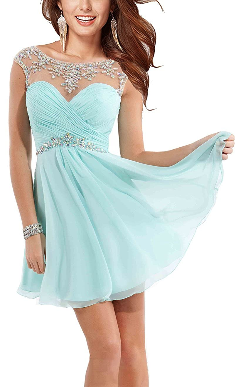 8019480e4ab Amazon.com  Rong store Rongstore Women s Chiffon Short Party Gowns  Homecoming Dresses for Girls  Clothing