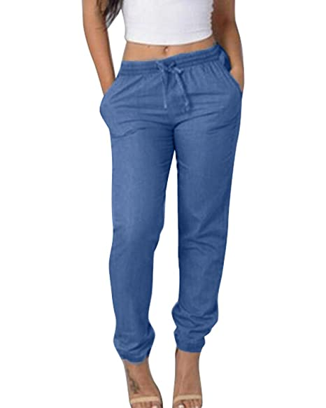 5e28958d24 SUNNYME Women's Sweatpants Joggers Pants Drawstring Workout Active Trousers  with Pockets Light Blue XS