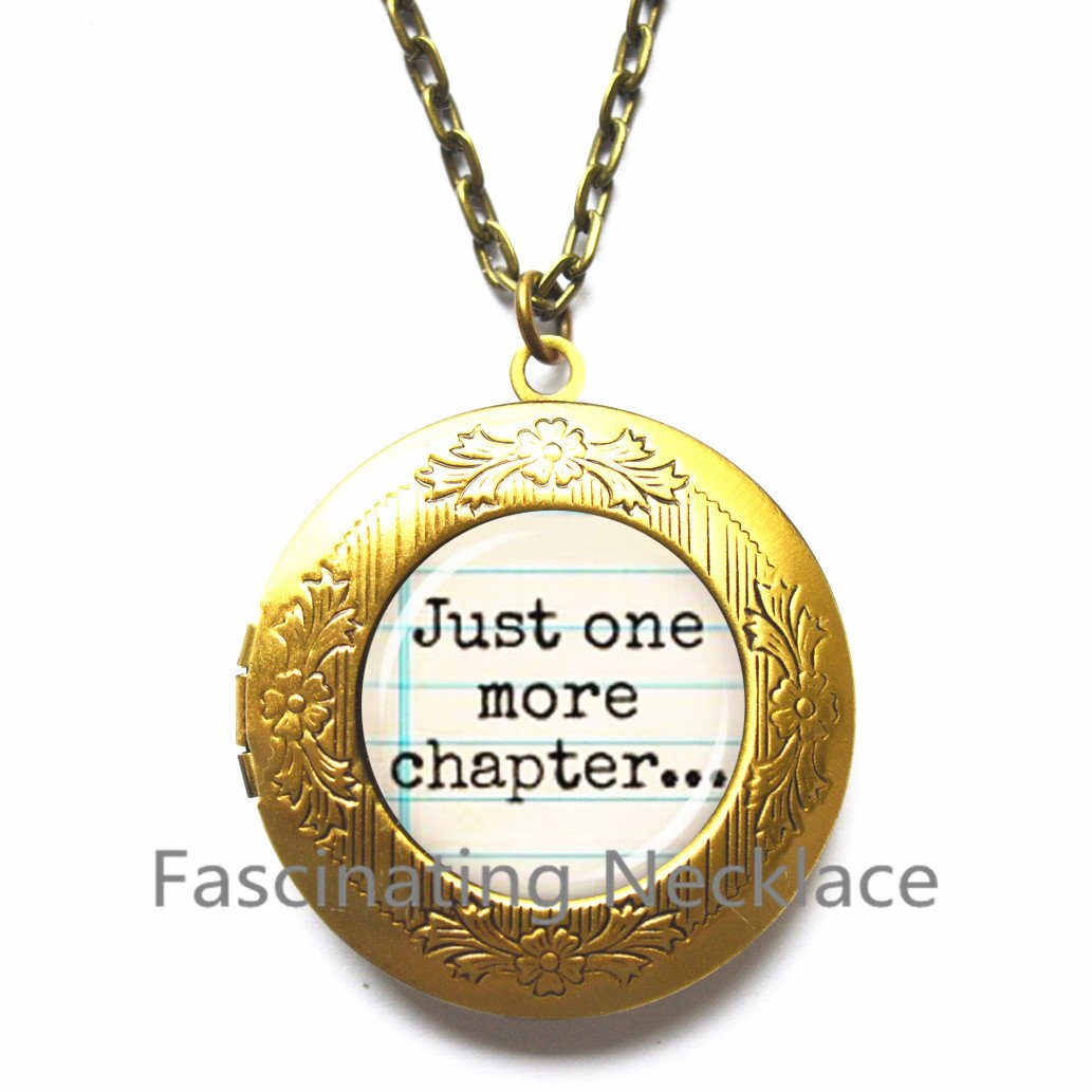Glass Locket Pendant Locket Necklace Fashion DIY Handmade Jewelry Charm Trendy Book Lover Bibliophile Gift,AE0029 New Locket Necklace,Just one more chapter..