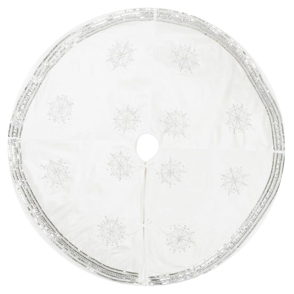 Vickerman 504697 - 60'' Banded Snowflake Tree Skirt (QTX17011) Christmas Tree Skirts