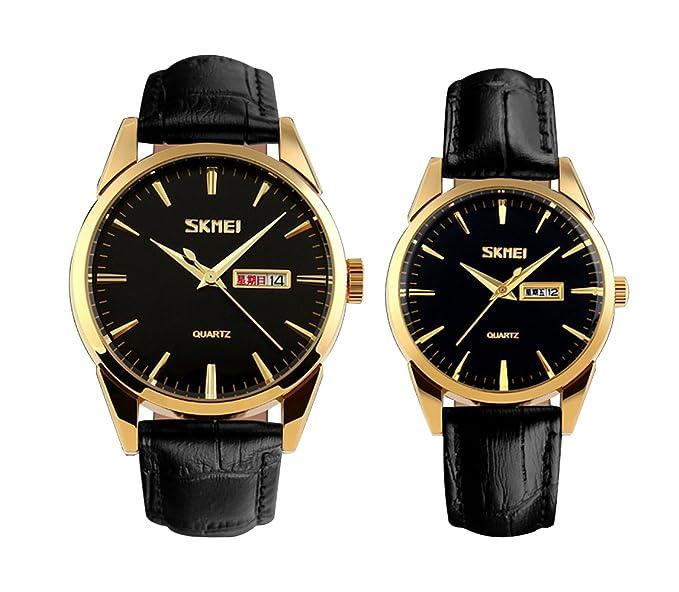 df735fda vestir reloj de pulsera de oro negro para los amantes/parejas de cuarzo  analógico de negocios informales de los hombres del reloj del calendario  2pcs: ...