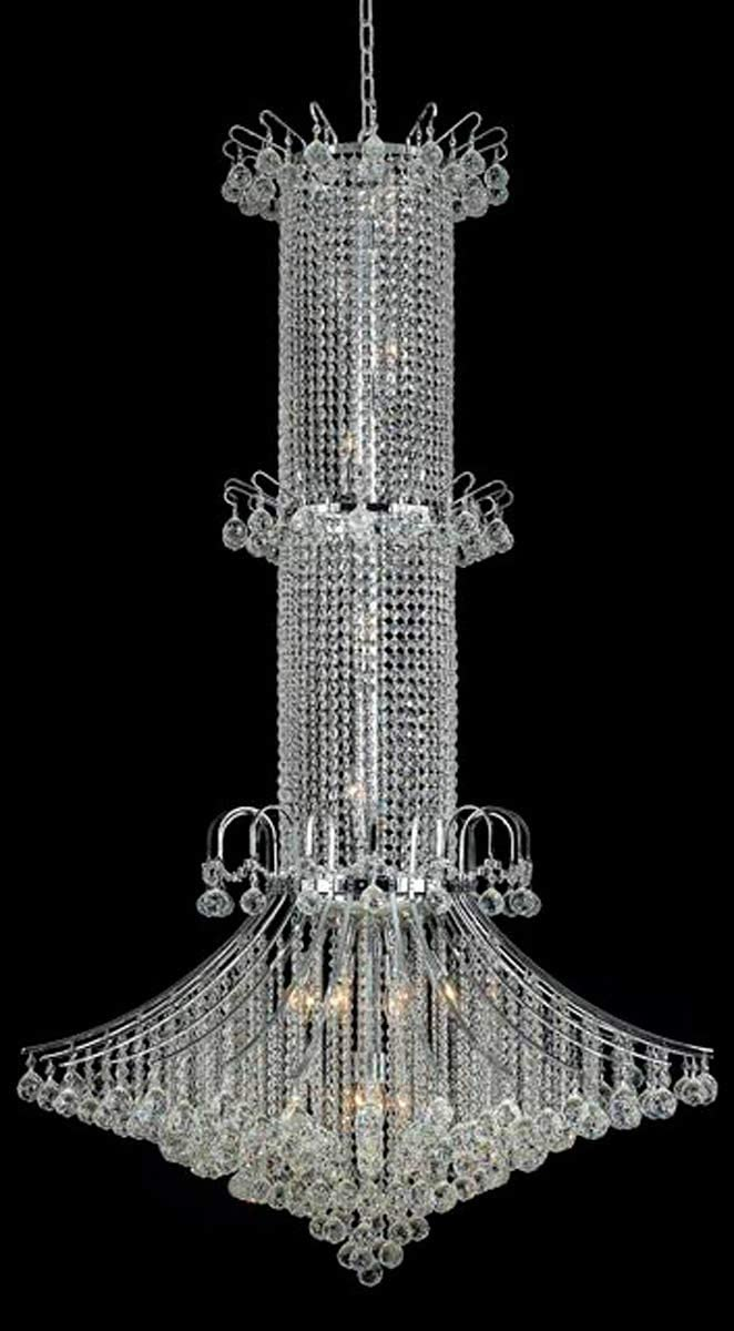 Elegant Lighting 8008G44C RC Royal Cut Clear Crystal Toureg 20-Light, Three-Tier Crystal Chandelier, 44 x 72 , Finished in Chrome with Clear Crystals