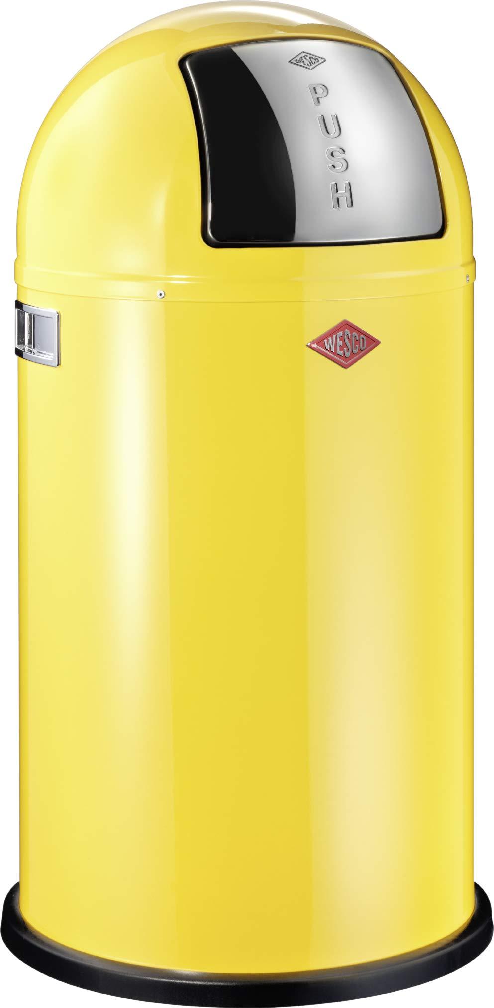 Wesco Pushboy-German Made-Push Door Trash Can, Powder Coated Steel, 13.2 Gallon / 50L, Lemon Yellow