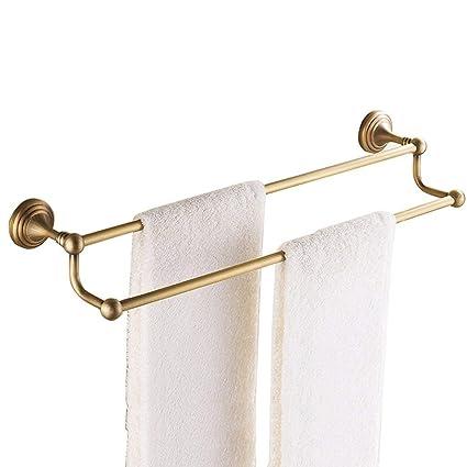 WEI MING Shop-Toalleros para baño Carriles de toallas dobles montados en la pared de latón ...