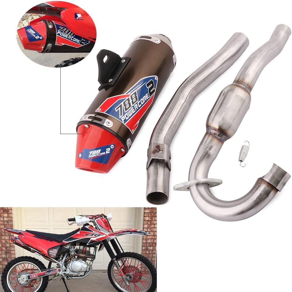YSMOTO Silenciador de Tubo de Escape de Acero Inoxidable para Honda CRF150F CRF230F 2003-2013 03-13 Motocross Motocross Dirt Bike