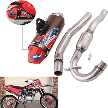 JFG RACING Exhaust Muffler Vent Pipe Slip On Motorcycle For For Honda CRF150F CRF230F 2003-2013