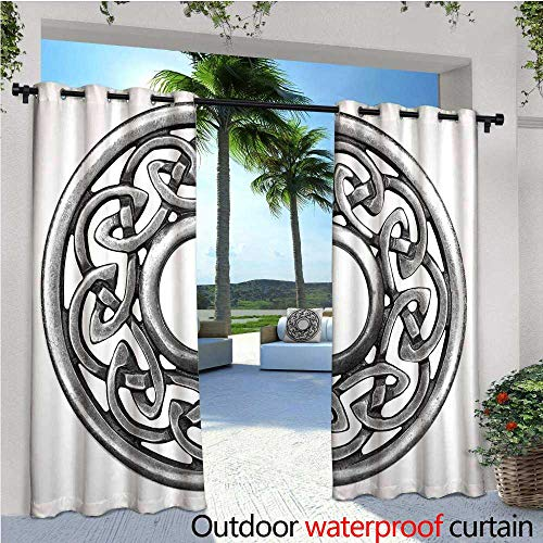 cobeDecor Celtic Outdoor Blackout Curtains Royal Style Circular Celtic Pattern Graphic Print Metal Brooch Design Scottish Shield Outdoor Privacy Porch Curtains W108 x L96 Silver