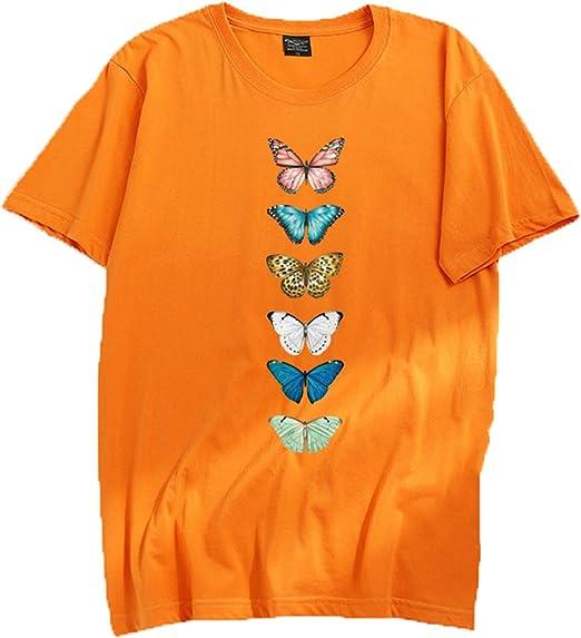 ZZNN Mujer Mariposa Camiseta Manga Corta 3D Impreso De Algodón Cuello Redondo Sueltos De La Vendimia De La Novedad Casual Camiseta Jogging Pesca Yoga,Naranja,XS: Amazon.es: Hogar