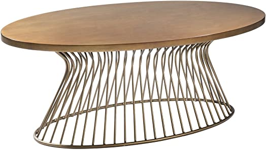 Madison Park Mercer Accent Metal Wired Frame Hour Glass Shaped Retro Design Mid-Century Modern Style Coffee Table