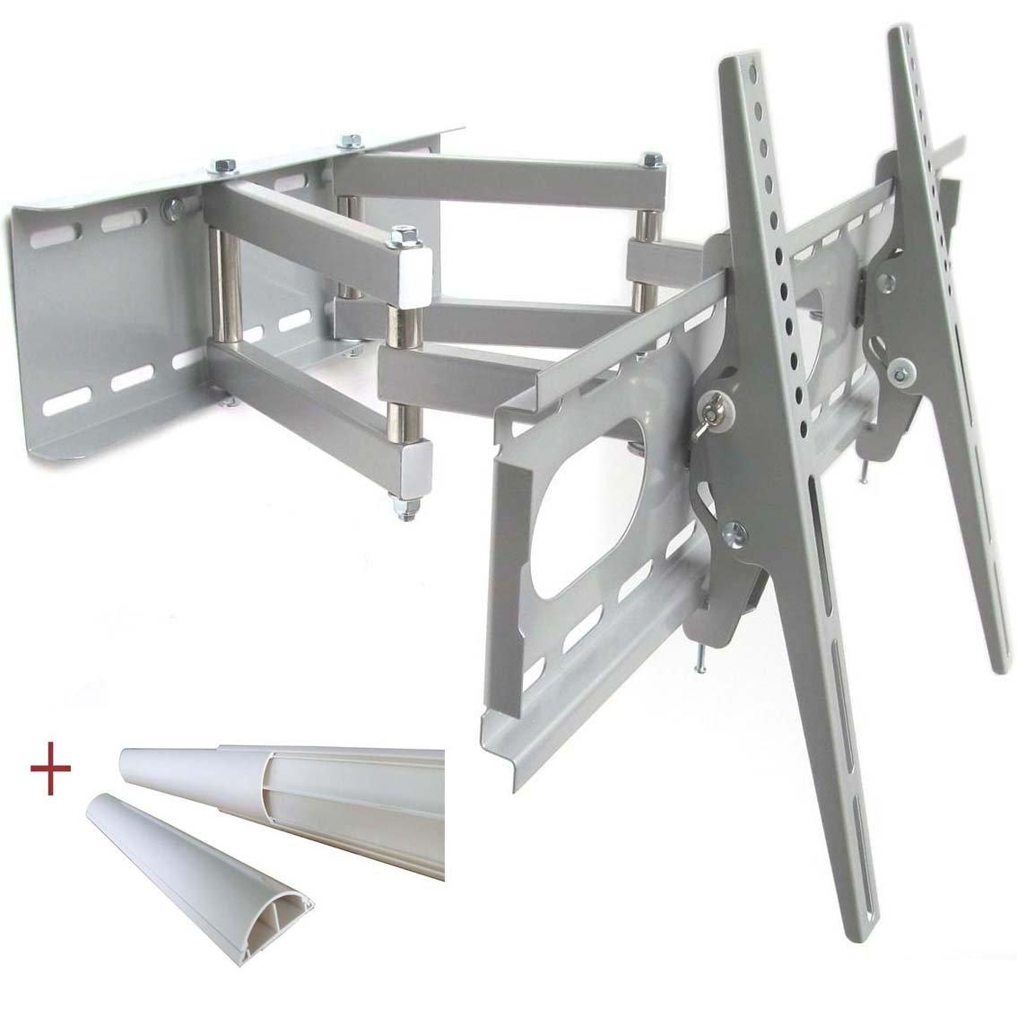 TV Wandhalterung Halterung SILBER Schwenkbar Doppelarm Wandhalter für TV bis 140 cm (55