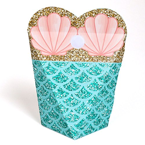 Let's Be Mermaids - Baby Shower or Birthday Party Favors - Gift Favor Boxes for Women & Girls - Set of 12