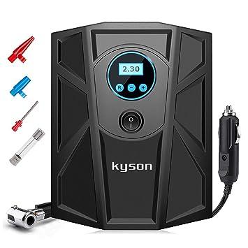 Kyson Digital LCD neumático inflador 12 V DC compresor de aire portátil con manómetro de neumáticos