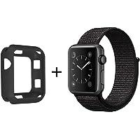 SYTHOO Correa Loop Deportiva de Nylon Tejido para Apple Watch Series 38mm 3/2/1 (Negro, 38mm)