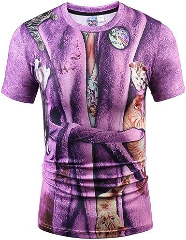 Manga Corta, Camisa Casual Impresa 3D de Manga Corta para Hombre, Camiseta de Cuello Redondo_Internet(Púrpura M-2XL): Amazon.es: Ropa y accesorios