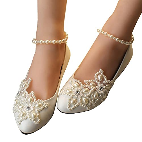 6ca2b6a6c6be Getmorebeauty Women s Mary Jane Flats Pearls Across The Top Beach Wedding  Shoes 8 B(M) US Off-White  Amazon.co.uk  Shoes   Bags