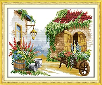 -Flower Multiple Pattern Designs Full Range of Embroidery Starter Kits Stamped Cross Stitch Kits Beginners for DIY Embroidery