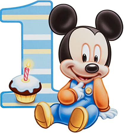 Baby Mickey Mouse One Year 1st Birthday Edible Image Photo 1/4 Quarter Sheet Cake Topper Personalized Custom Customized Birthday Party