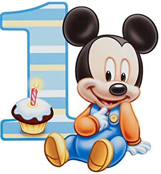 Amazoncom Baby Mickey Mouse One Year 1st Birthday Edible Image