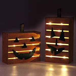 MorTime 2 Pack Pumpkin Wooden Light Halloween Decorations, Harvest Fall Thanksgiving Party Decoration with LED Light