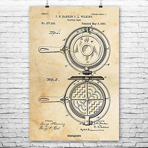 Waffle Iron Poster Patent Art Print Vintage Paper