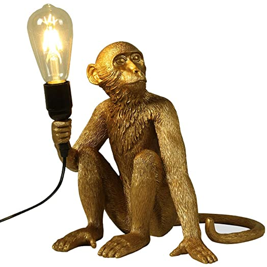 CLFINE Modern Table Light, Monkey Desk Lamp, Resin Sitting Monkey Lighting Fixture for Living Room, Bedroom, Office, College Dorm Gold