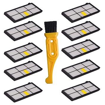 10 filtros HEPA para iRobot Roomba 800 900 Series 860 870 871 880 960 980 robots de limpieza al vacío: Amazon.es: Bricolaje y herramientas