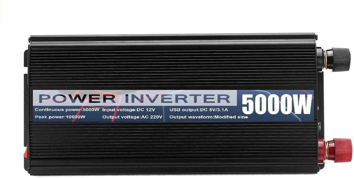 Zfggd 10000W Powers inversor DC12V a AC220 voltios 5000W LED Pantalla 2 del Coche del USB Adaptador de la Carga Convertidor Modificado Ondas sinusoidales Transformador