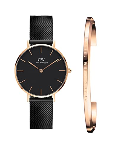 f711e675ea23 Buy Daniel Wellington Women s Classic Petite Ashfield 32Mm Rose Gold Black  Dial Analogue Watch And Rose Gold Cuff Combo Online at Low Prices in India  ...